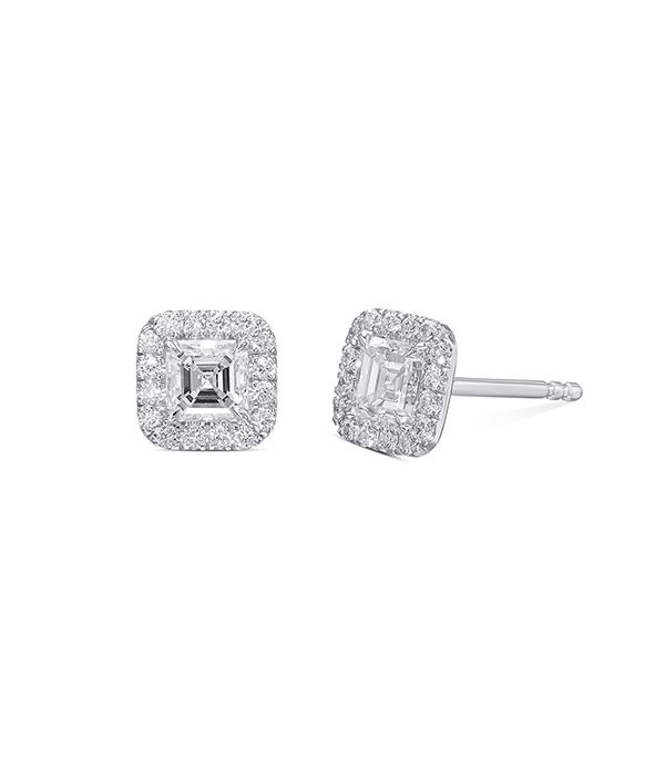 עגילי יהלומים מרובעים צמודים