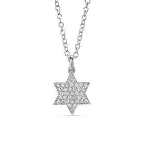 Star of David Diamond Pave Necklace