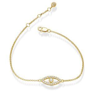 bracelet, diamond bracelet, eye bracelet, karma, yellow gold