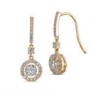Dangling Diamond Stud Earrings