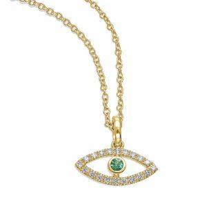 תליון יהלומים עין יהלומים ואבן אמרלד ירוקה