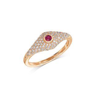 טבעת יהלומים ואבן רובי אדום זהב וורוד