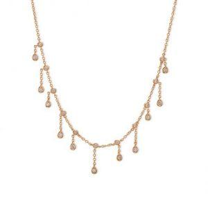 שרשרת יהלומים זהב וורוד מיוחדת