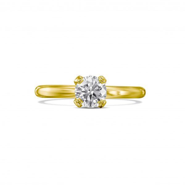 טבעת אירוסין יהלום עגול זהב צהוב