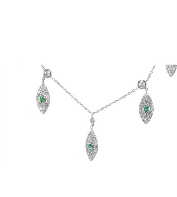 שרשרת יהלומים ואבני אמרלדים ירוקות