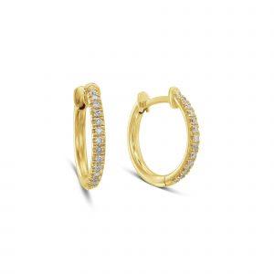 עגילים מיוחדים חישוק זהב צהוב יהלומים טבעיים נווה צדק