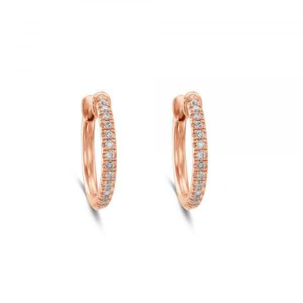 עגילים חישוק יהלומים זהב וורוד מעוצבים
