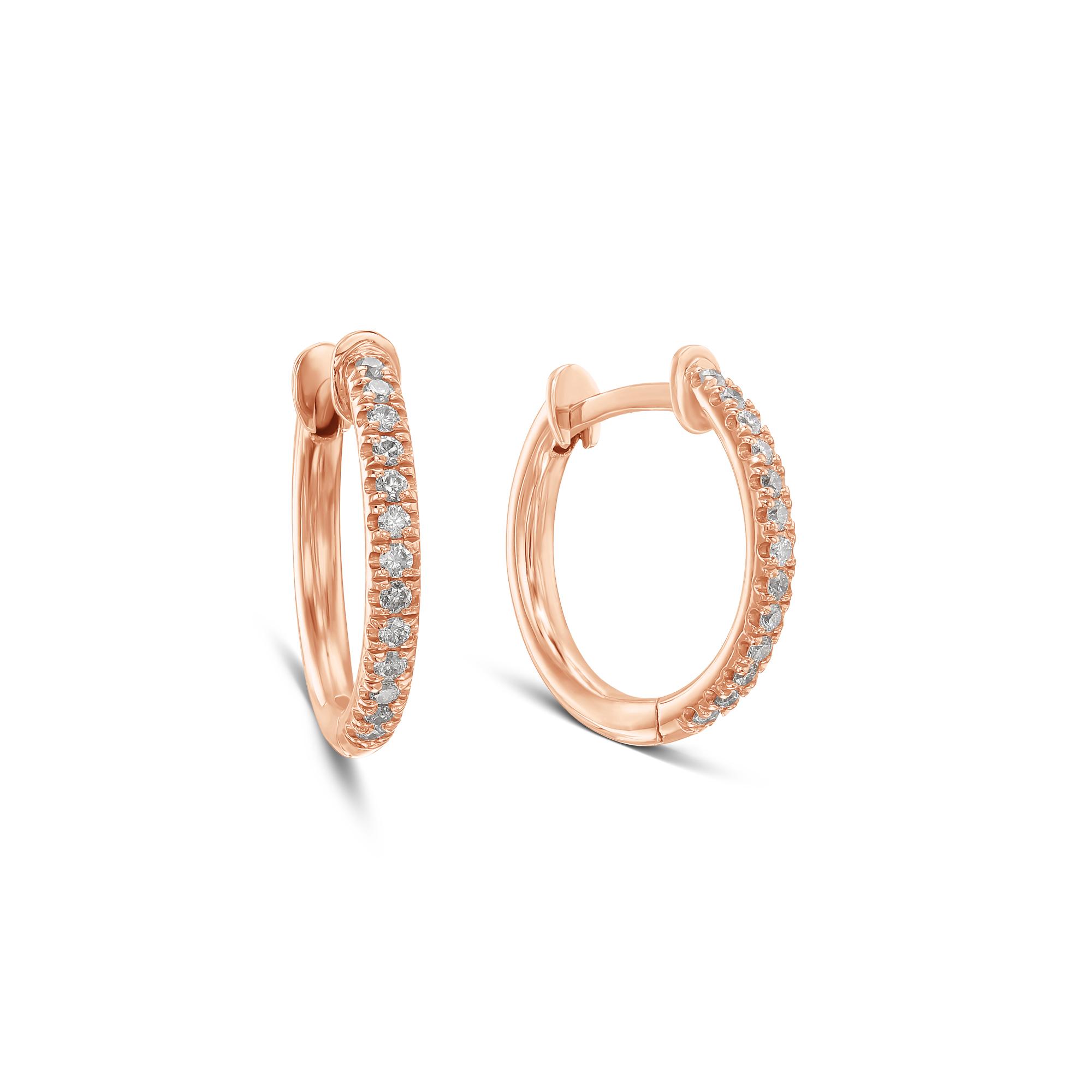 Diamonds Hoop Earrings- Rose Gold