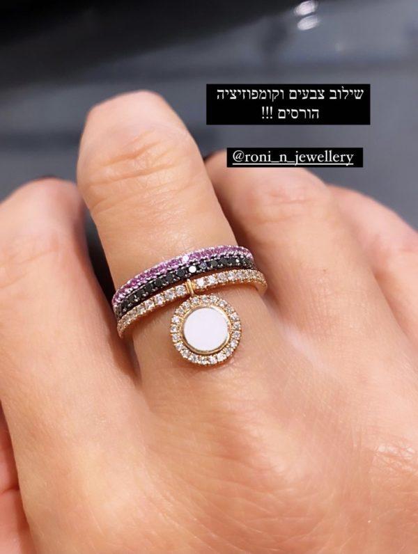 טבעת יהלומים זהב וורוד אמייל לבן