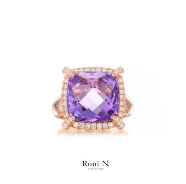 טבעת יהלומים ואבן חן אמטיסט בזהב וורוד