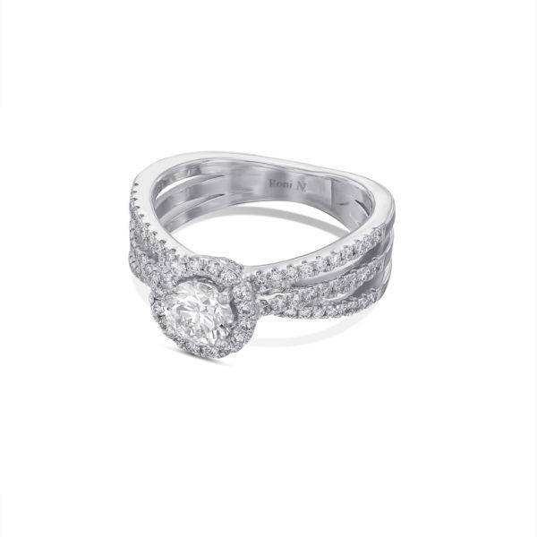 טבעת יהלום אירוסין זהב לבן