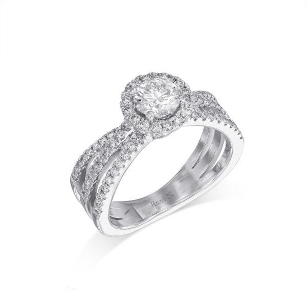 טבעת אירוסין מעוצבת יהלומים